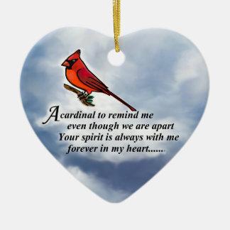 Poema memorável cardinal ornamento de cerâmica coração