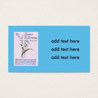 Poema transversal cristão do lírio de páscoa cartão de visitas
