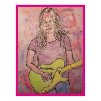 Poesia da música da menina da música ao vivo cartão postal