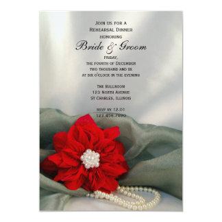 Poinsétia e pérolas que Wedding o jantar de ensaio Convites Personalizados