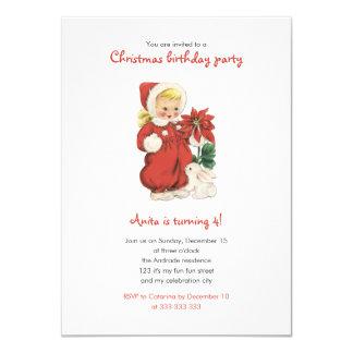 Poinsétia retro bonito do vermelho da menina do convite 11.30 x 15.87cm