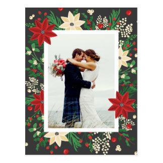 Poinsétia & visco - foto do casamento do Natal Cartão Postal