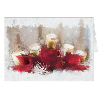 Poinsétias e velas de cartão de Natal