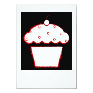 polaroid do cupcake da cereja convite 12.7 x 17.78cm