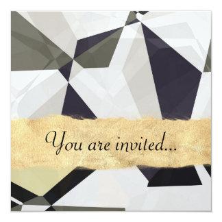 Polígono abstratos 213 convite quadrado 13.35 x 13.35cm