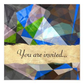 Polígono abstratos 230 convite quadrado 13.35 x 13.35cm