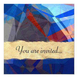 Polígono abstratos 260 convite quadrado 13.35 x 13.35cm