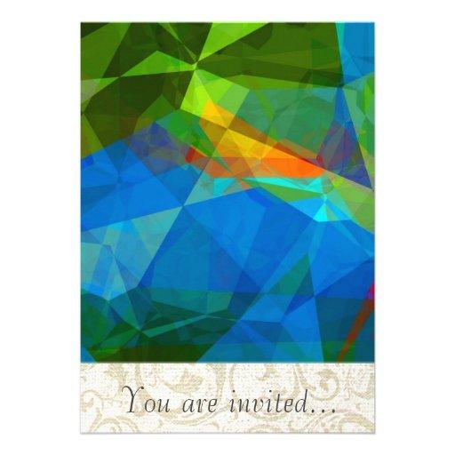 Polígono abstratos 39 convite personalizado