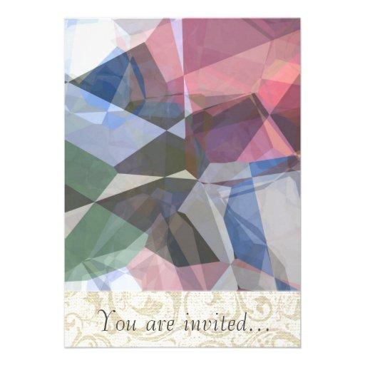 Polígono abstratos 90 convite personalizados