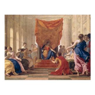 Poliphilus que ajoelha-se antes da rainha cartão postal