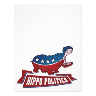 Política do hipopótamo papéis de carta personalizados