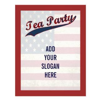 Político customizável da bandeira do tea party flyer 21.59 x 27.94cm