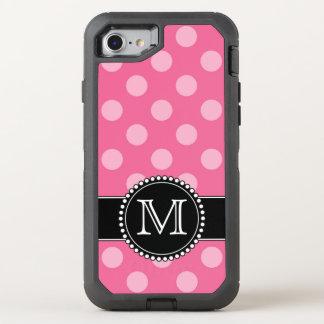 Polkadot cor-de-rosa, defensor personalizado, capa para iPhone 7 OtterBox defender