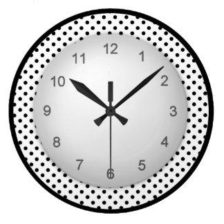 Polkadot moderno preto e branco relógio grande