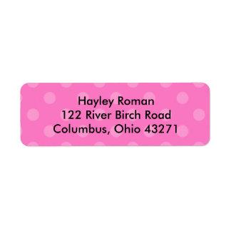 Polkadot personalizou a etiqueta de endereço, rosa