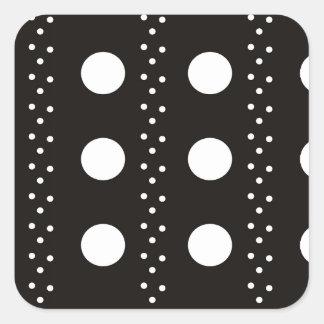Polkadots preto e branco adesivo quadrado