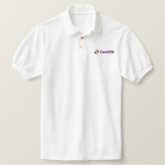 Pólo do branco de CentOS Camiseta Bordada Polo