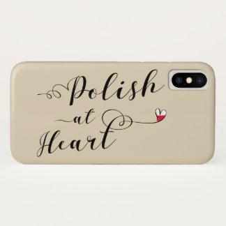 Polonês na capa de telefone do móbil do coração