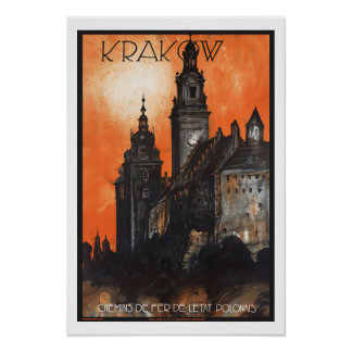Polônia de Krakow das viagens vintage Pôster