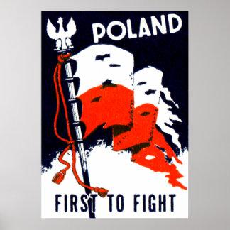 Polônia de WWII para lutar primeiramente o poster