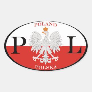 Polônia Polska PL Adesivo Oval
