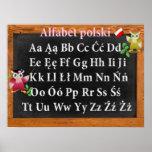 Polski bonito do professor Coruja Polonês Alfabeto Pôsteres