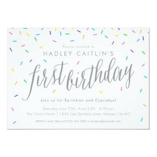 Polvilha o primeiro convite do aniversário, bonito