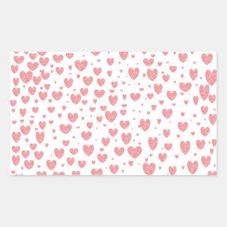 Polvilhar de etiquetas dos corações adesivo em forma retangular