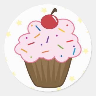 Polvilhe o cupcake adesivo