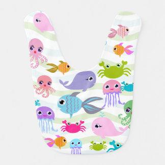 polvo do mar do oceano, caranguejo, peixe, babador