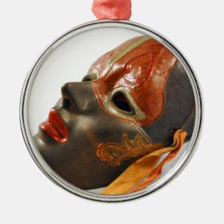 Pomar da máscara ornamento redondo cor prata