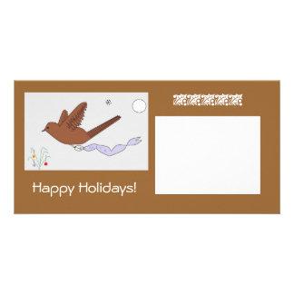Pomba boas festas cartão com foto