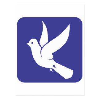 Pomba de voo do ícone da paz cartao postal