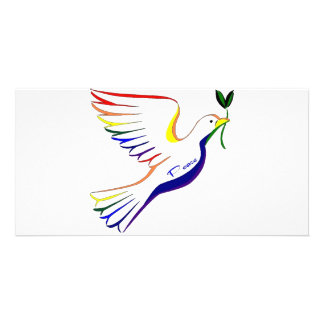 Pomba do arco-íris cartão com foto