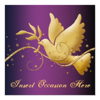 Pomba do Natal da paz religiosa Convite Quadrado 13.35 X 13.35cm