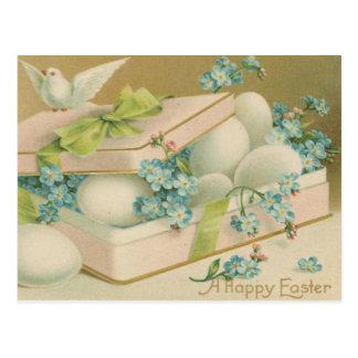 Pomba e ovos da páscoa do vintage cartão postal