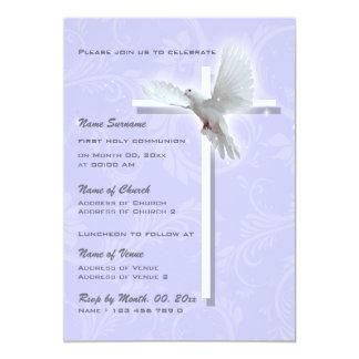 Pomba religiosa da confirmação do comunhão do convite personalizado