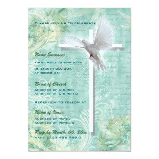 Pomba religiosa da confirmação do comunhão do convite 12.7 x 17.78cm