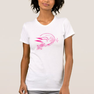 Pombas antigas à moda do casamento do rosa quente camisetas