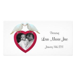Pombas em cartões de fotos do coração cartao com foto personalizado