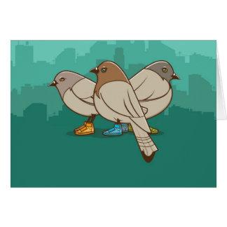 Pombos com design gráfico da foto engraçada das sa cartão