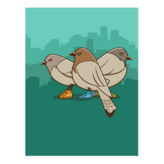 Pombos com design gráfico da foto engraçada das sa cartões postais