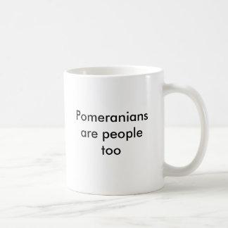 Pomeranians é pessoas demasiado caneca de café