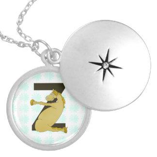 Pônei engraçado do monograma Z personalizado Locket