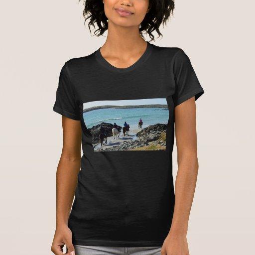 Pônei que trekking ao longo da praia tshirts