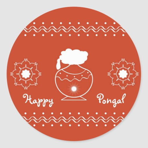 Pongal - festival indiano adesivo em formato redondo