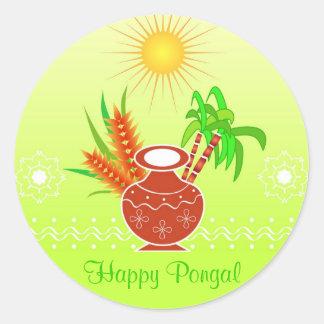 Pongal - festival indiano sul adesivos em formato redondos