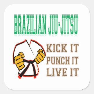 Pontapé de Jiu-Jitsu do brasileiro, perfura-o, viv Adesivos Quadrados