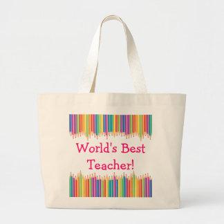 Pontas do lápis do professor do mundo as melhores bolsa tote grande