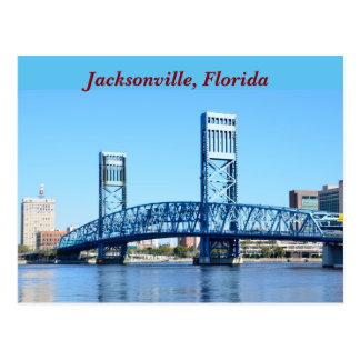 Ponte azul famosa Jacksonville, Florida Cartão Postal